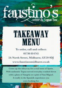 Faustino's takeaway menu - Midhurst tapas